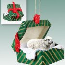 GGBA49 Sheep, White Green Gift Box Ornament