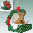 GGBA53 Rabbit, Brown Green Gift Box Ornament