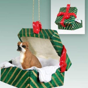 GGBD102A Boxer, Uncropped Green Gift Box Ornament