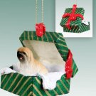 GGBD10B Lhasa Apso, Brown Green Gift Box Ornament