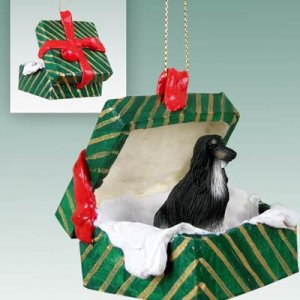 GGBD28A Afghan Black & White Green Gift Box Ornament