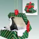 GGBD54A Greyhound, Black & White Green Gift Box Ornament