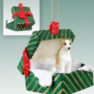 GGBD92D Whippet, Tan & White Green Gift Box Ornament