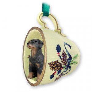 GTCD101A Doberman, Black, Uncropped Green Holiday Tea Cup Ornament