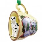 HTCD100C Great Dane, Harlequin, Uncropped Snowman Holiday Tea Cup Ornament
