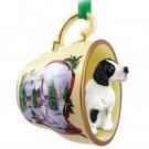 HTCD106B Pointer, Black & White Snowman Holiday Tea Cup Ornament