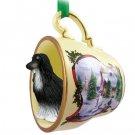 HTCD28A Afghan Black & White Snowman Holiday Tea Cup Ornament