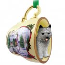 HTCD53A Cairn Terrier, Gray Snowman Holiday Tea Cup Ornament