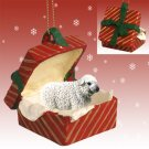 RGBA49 Sheep, White Red Gift Box Ornament
