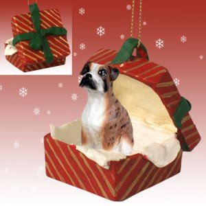RGBD102C Boxer, Brindle, Uncropped Red Gift Box Ornament