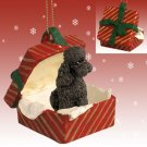 RGBD104E Poodle, Chocolate, Sport cut Red Gift Box Ornament