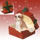 RGBD128B Shih Tzu, Tan, Sport cut Red Gift Box Ornament