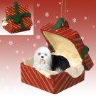 RGBD35 Old English Sheepdog Red Gift Box Ornament