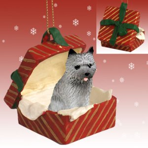 RGBD53A Cairn Terrier, Gray Red Gift Box Ornament