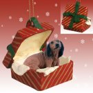 RGBD60A Dachshund, Longhaired, Red, Red Gift Box Ornament