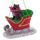 SLD03B Pomeranian, Black  Sleigh Ride Ornament