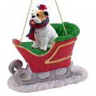 SLD05C Bulldog, White Sleigh Ride Ornament