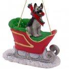 SLD08B German Shepherd, Silver & Black Sleigh Ride Ornament