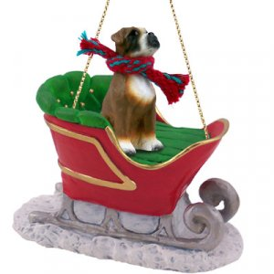 SLD102A Boxer, Uncropped Sleigh Ride Ornament