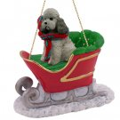 SLD104B Poodle, Gray, Sport cut Sleigh Ride Ornament