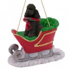 SLD104E Poodle, Chocolate, Sport cut Sleigh Ride Ornament