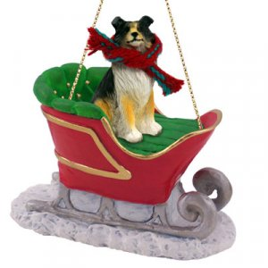SLD23B Collie, Tricolor Sleigh Ride Ornament