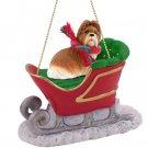 SLD26B Shih Tzu, Tan Sleigh Ride Ornament