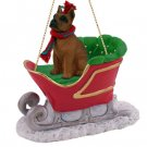SLD33B Boxer, Tawny Sleigh Ride Ornament