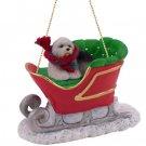 SLD35 Old English Sheepdog Sleigh Ride Ornament