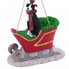SLD54A Greyhound, Black & White Sleigh Ride Ornament