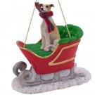 SLD54D Greyhound, Tan & White Sleigh Ride Ornament