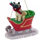 SLD55B Akita, Fawn Sleigh Ride Ornament