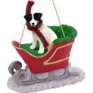 SLD63B Jack Russell Terrier, Black & White, Rough Coat Sleigh Ride Ornament