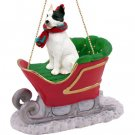 SLD65A Pit Bull Terrier, White Sleigh Ride Ornament