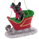SLD73 French Bulldog Sleigh Ride Ornament