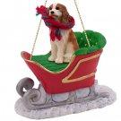 SLD80A Cavalier King Charles, Brown & White Sleigh Ride Ornament