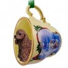 STCD15A Cocker Spaniel, Brown Sleigh Ride Holiday Tea Cup Ornament