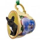 STCD73 French Bulldog Sleigh Ride Holiday Tea Cup Ornament