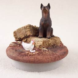 """DTTC25B Doberman, Red Tiny One Candle Topper """"""""A Day on the Farm"""""""""""