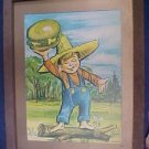 Vintage 1970 Country Kitchen Boy Original Wall Art Frmd