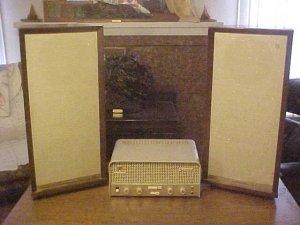 Vintage 1959 Philips AG 9014 Stereo & Speaker System VG
