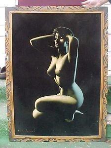 Vintage 1960s Black Velvet Nude Naked Woman Painting