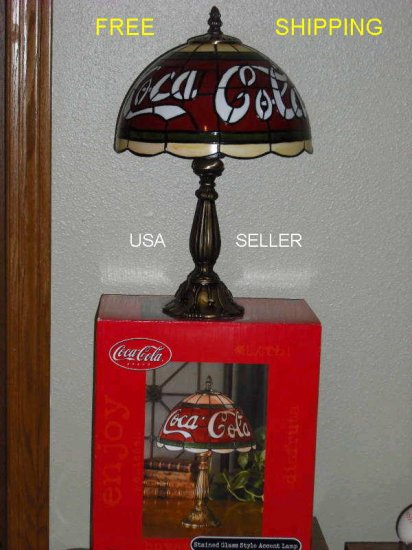 """COCA-COLA 15 1/2"""" STAINED GLASS STYLE LAMP  - FREE SHIPPING"""