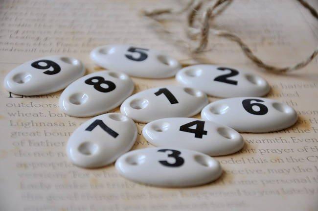 Ceramic Number Tablets 1 to 9