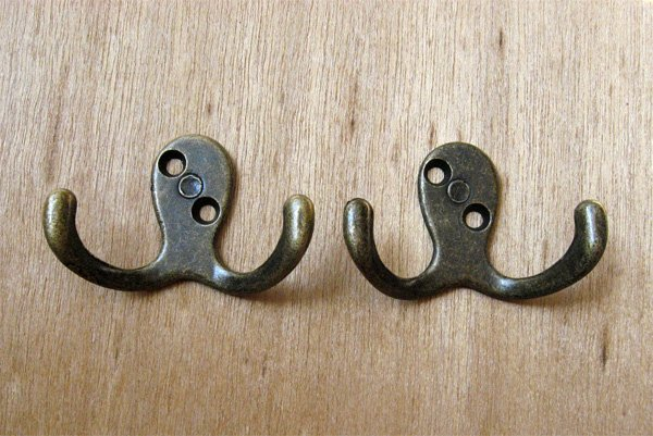 Antique Brass Double Prong Robe Hook