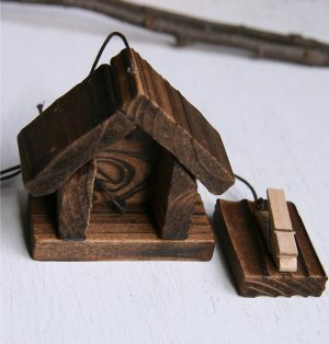 Hanging Wooden House with Clothespin Card Holder Christmas Ornament