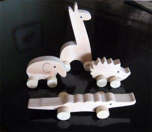 Wooden Animals on Wheels (set of 4)(on Sale)