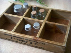 Antique Wood 6 Compartments Tray