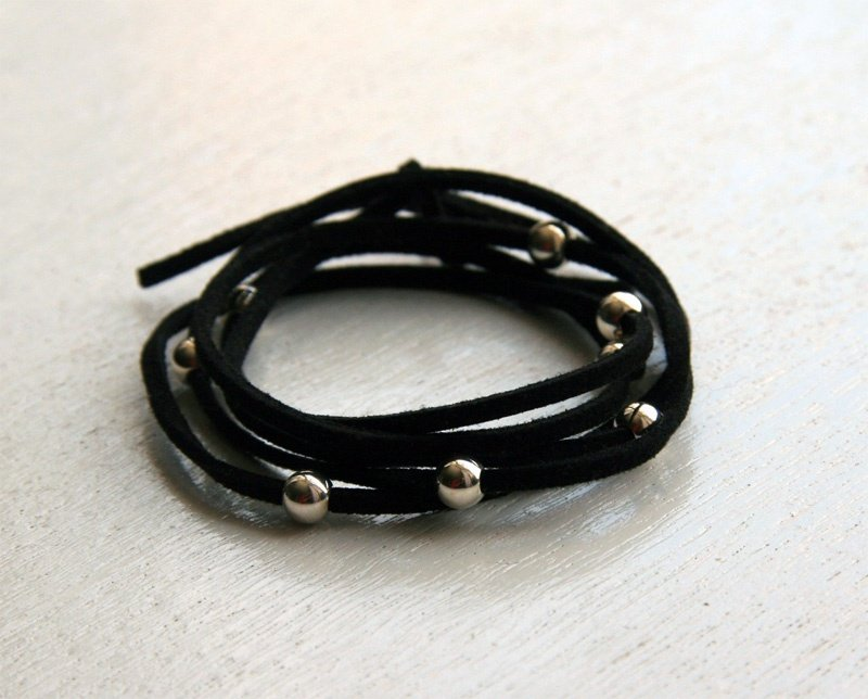 Sterling Silver Beads with Suede Cord Bracelet (13 colors to choose)