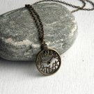 Antique Brass Clock Charm Necklace (on Sale)